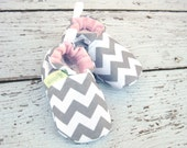 SALE Classic Chevron Grey And Pink / All Fabric Soft Sole Baby Shoes / Made to Order