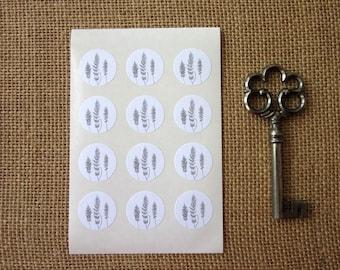 Fern Stickers One Inch Round Seals