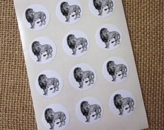 Lion Stickers One Inch Round Seals