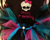 Size girls 4-16 punk skull with bow Birthday outfit -- t shirt plus a matching tutu --7th, 8th, 9th, 10th birthday