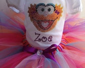 Sesame street tutu outfit-- Zoe- hand made rhinestone bling personalized tshirt or bodysuit plus matching tutu