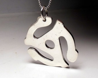 45 RPM Record Adaptor in Sterling Silver Pendant RF456