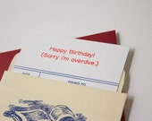 Sorry I'm Overdue - Birthday - Letterpress Library Card