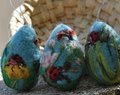 Needle felted Easter eggs-The ladybugs-Sert of 3 OOK Artist eggs