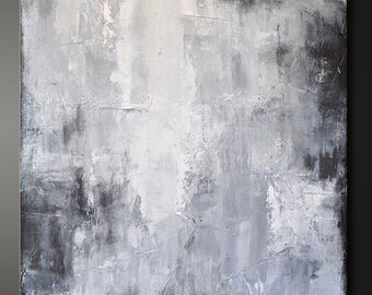 Dark Shadow - 24 x 24 - Abstract Acrylic Painting - Highly Textured - Contemporary Urban Wall Art Gray Grey