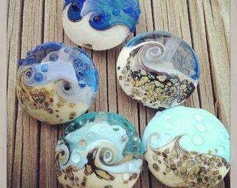 Handmade Glass Lampwork Organic Ocean Bead SRA