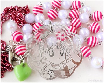 Sailor Jupiter Necklace, White and Pink Chain, Acrylic Pendant in Silver - Sailor Moon, Magical Girl