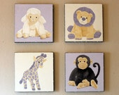 Kids Canvas Original Art - Animal Oil Paintings - 12 x 12 x 1.5 inch (24 x 24 total)