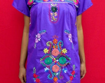 Mexican Romantic Purple Mini Dress Floral Embroidered Collection Spring / Summer  Small