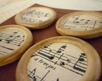 Wood and Paper Buttons - Music Collection - Handmade - 35mm