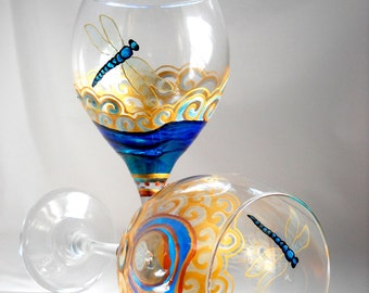 Dragonfly Glassware, Blue Dragonfly Wine Glasses Hand Painted Pair