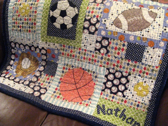 Quilt Patterns For Sports : Baby Boy Sports Quilt Baby Toddler Football Quilt