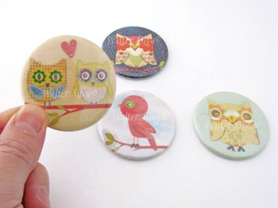Set of 4 Owl BIRD Round Magnets by Walter Silva