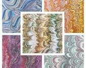 5  marbled paper sheets   bulk pack  .Bookbinding card making   florentine paper. 19.5