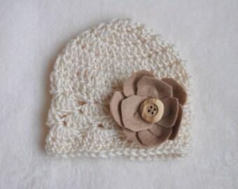 newborn photo prop, cream and tan newborn felt flower hat