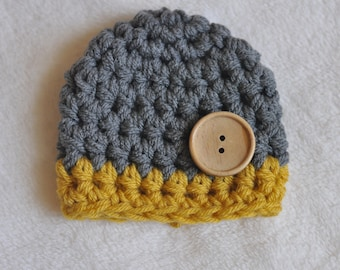 baby boy newborn photo prop hat, yellow and gray baby boy hat
