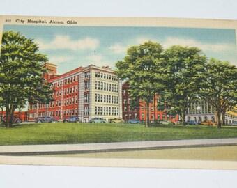 Vintage Linen Postcard - City Hospital, Akron, Ohio - unused postcard - number 832