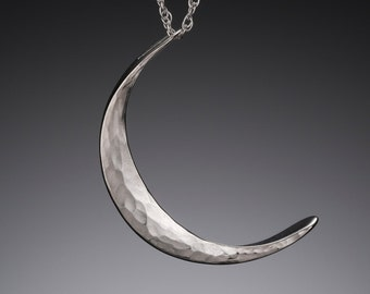 Large Mystic Pagan Silver Moon Necklace // Hippie Boho Jewelry