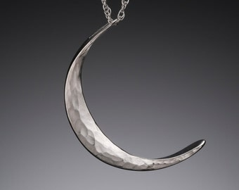 Silver Crescent Moon Necklace Medium