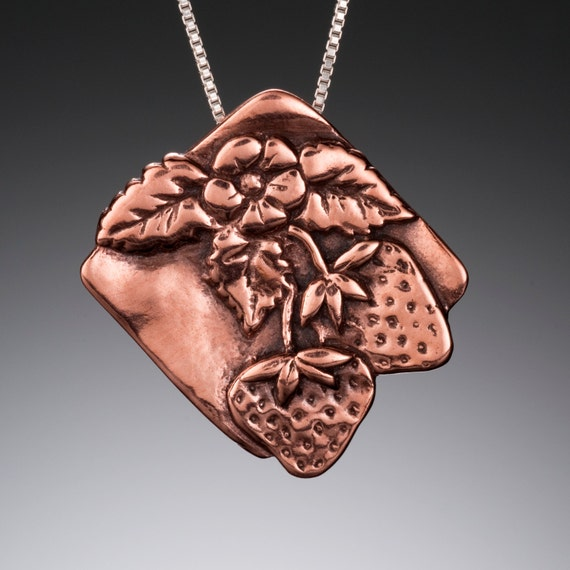 Strawberry Pendant- Copper Botanical Necklace