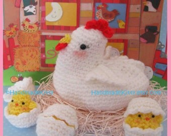 Mama Chicken with her Three little chicken babies PDF Crochet Pattern by   HandmadeKitty
