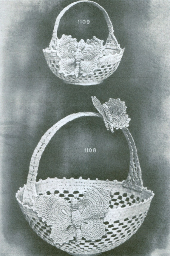 Butterfly Baskets 2 Sizes Large Small Crochet Pattern Copy PDF Instant Download