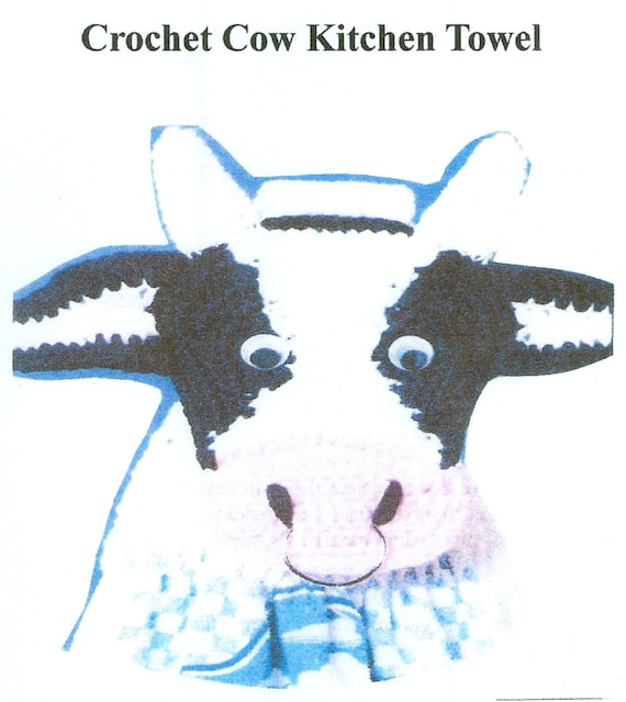 Crochet Cow Kitchen Towel Topper Country Kitchen Pattern Easy To Make PDF Instant Download