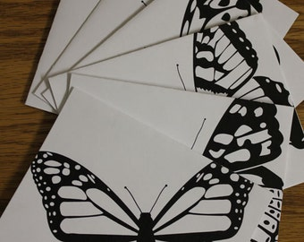 Butterfly Specimen Notecards - Black and White - Boxed Set of 4