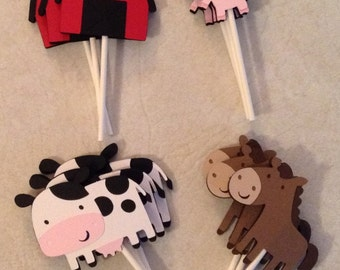 Farm Birthday Cupcake Toppers - Farm Birthday Supplies, Farm Birthday Party