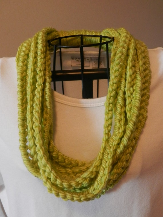 Crocheting Chain Stitch : Crocheted Chain Stitch Scarf/ One Loop Scarf/ Lime Green Chain ...