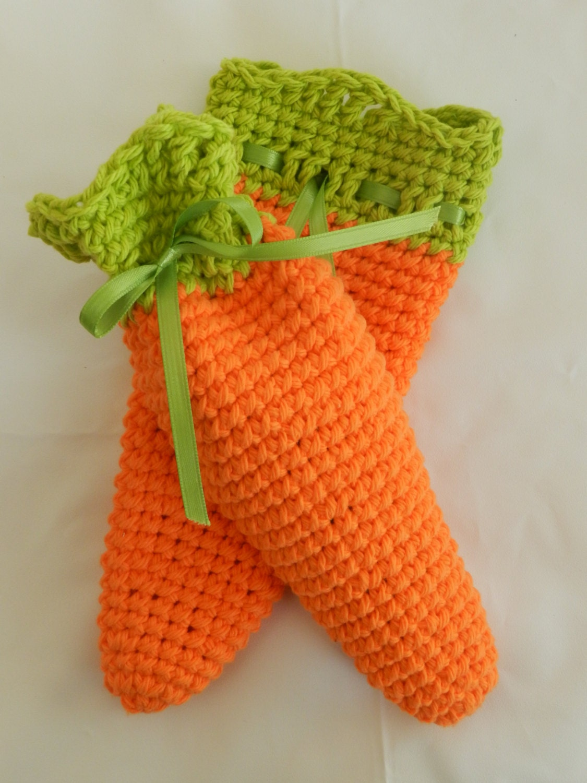 Crochet Grocery Bag Pattern : Crocheted Carrot Treat Bags/ Carrot Bags/ Easter Treat Bags