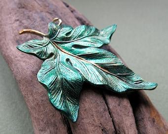 Maple Leaf Pendant - Large Canadian Leaf - 2 inch Copper / Green Maple Leaf for Necklace. Big Leaf Pendant for Necklace. Solid Copper Leaf