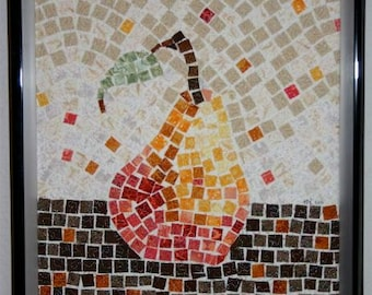 Fabric Mosaic Art Quilt of a Pear - Framed