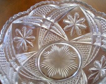Vintage  Pressed Glass Bowl   Circa  1940s