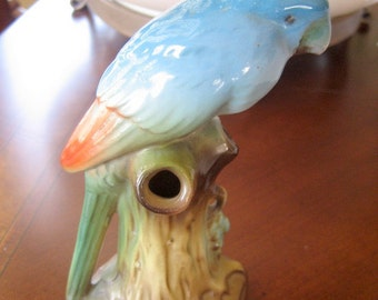 Vintage Blue Bird Flower Frog   circa 1940s