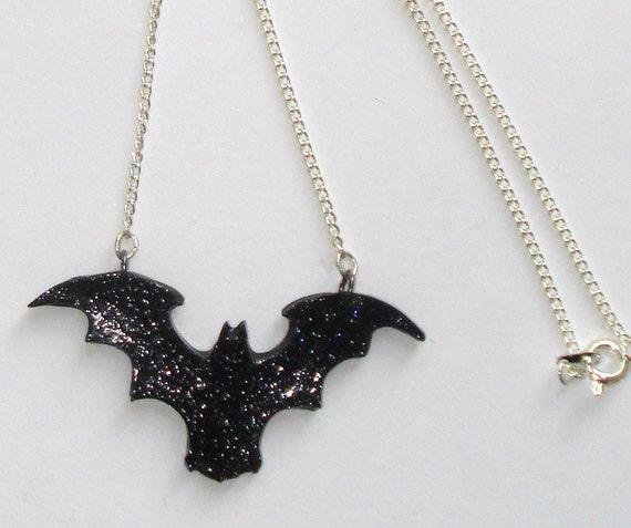 Sparkling black bat necklace