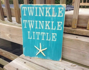 Beach Nursery Sign Twinkle Twinkle Starfish Nautical Coastal Decor