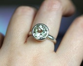 Green Amethyst Sterling Silver Ring, Gemstone Ring,  In No Nickel / Nickel Free - Made To Order