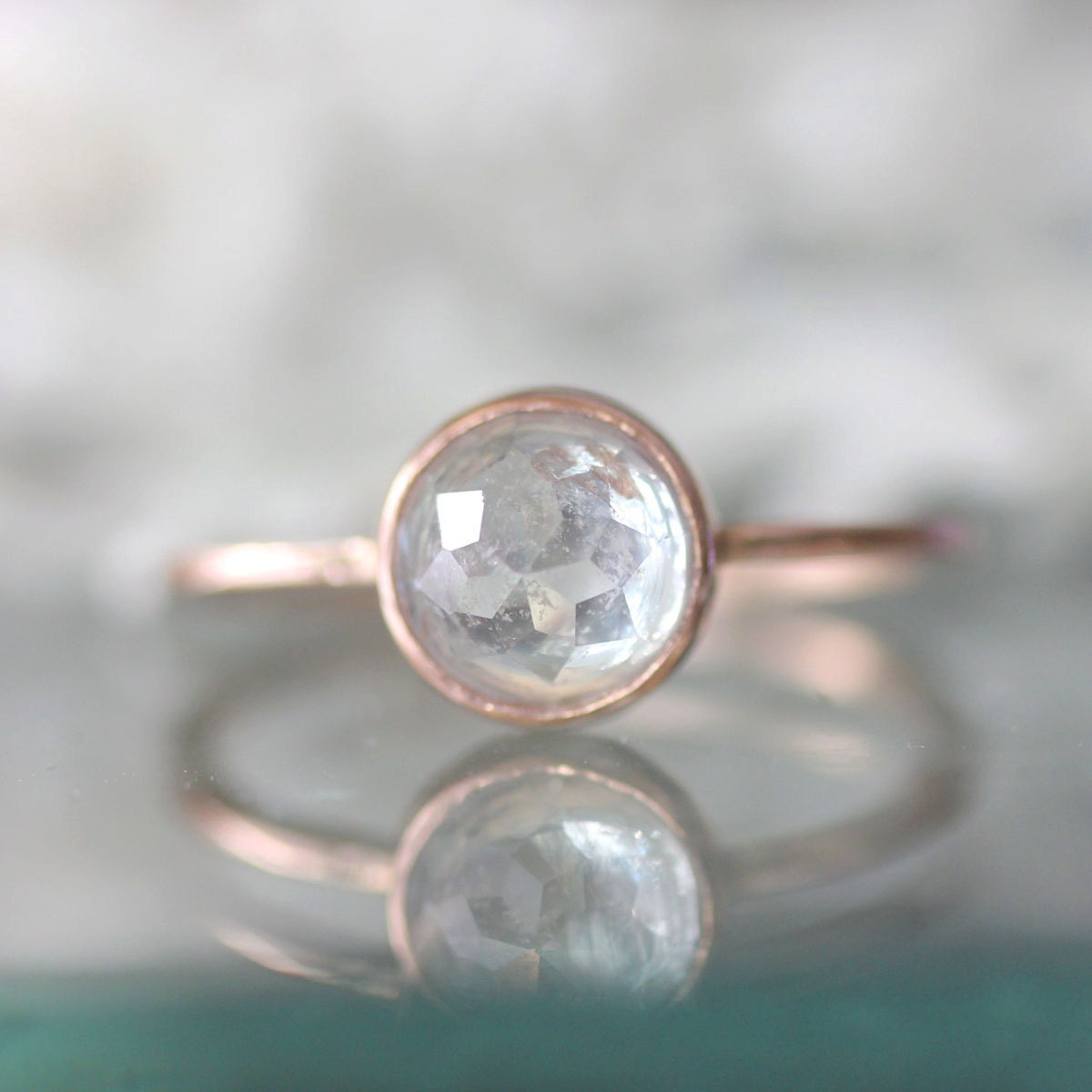 rose cut white sapphire in 14k rose gold white sapphire wedding rings zoom