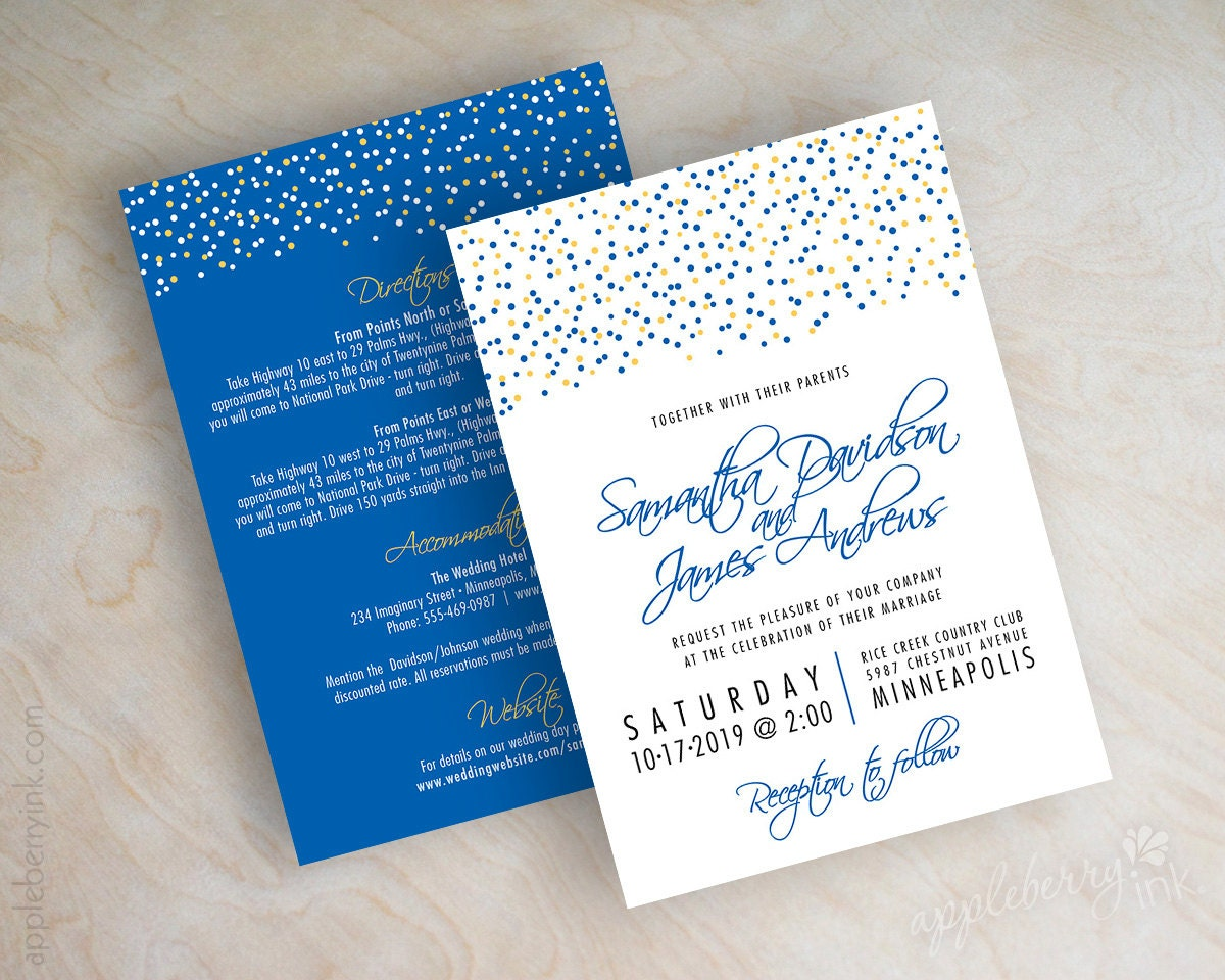 Royal Blue And Gold Wedding Invitations: Polka Dot Wedding Invitation Polka Dot Invite Modern