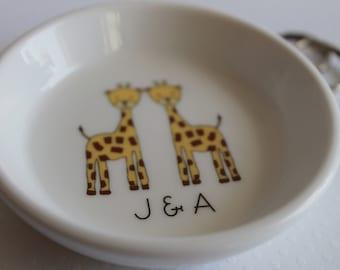 Ceramic Ring Holder - Giraffe Couple - you choose text