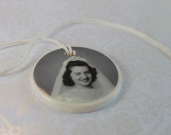 CUSTOM - Ceramic Bouquet Charm - Memorial Photo with sentiment - FOR KELLY