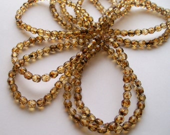 50ct 6mm Czech Faceted Firepolished Beads Amber Picasso