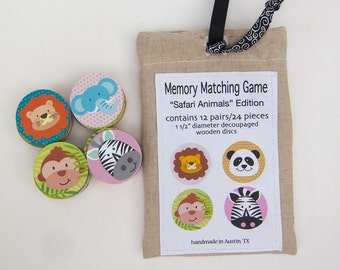 Memory Game Wood Safari Animals Matching Game Wooden Play Set