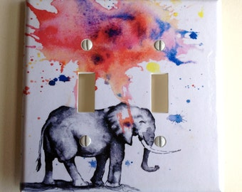 Elephant Decorative Double Light Switch Plate Cover Great  Kids Room Decor, and For Any Elephant Lover