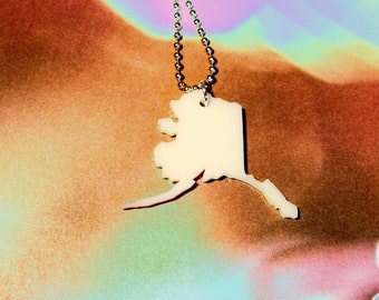 Alaska Acrylic Necklace, State Jewelry in Cream