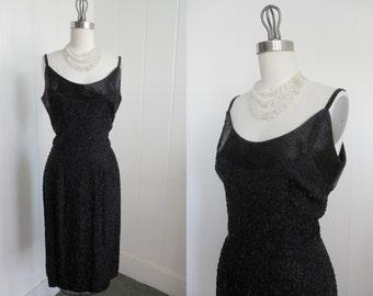 1950s/1960s Vintage Black Beaded Wiggle Dress VLV Rockabilly lbd
