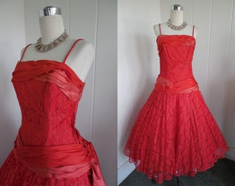 1950's Vintage Red Lace Drop Waist Prom /  Party Dress with Two Tone Bow