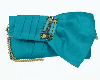 Bridesmaid Clutch Purse  - Pleated Silk Clutch in Teal - Half Bow, Metallic Kiwi Green Brocade