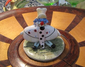 Vintage  Zampiva Italian Collectible Clown Figurine  Sculpture - Whimsical Clown Signed Figurine